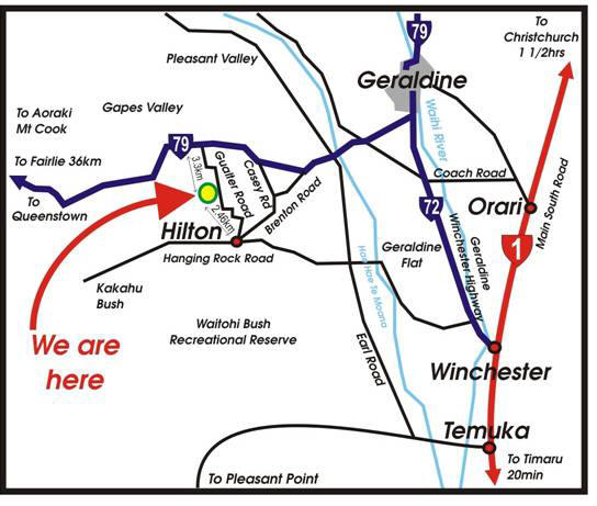 Local Geraldine area map and directions to our holiday farmstay at the deer farm